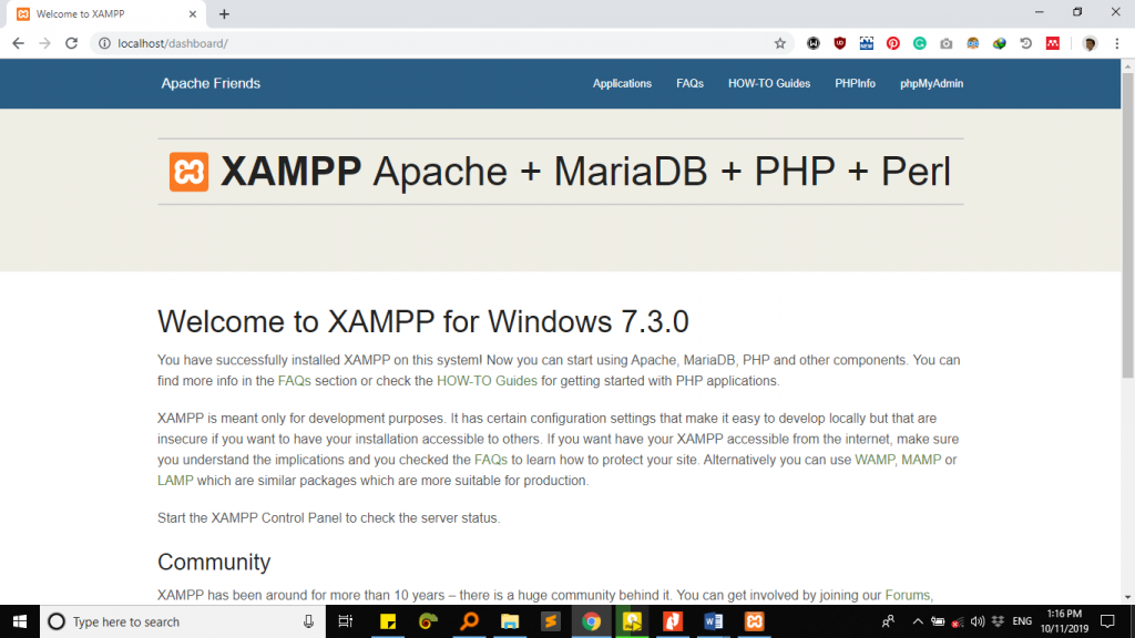 XAMPP - localhost in Browser