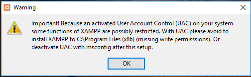 XAMPP installation on Windows 10 – UAC Warning