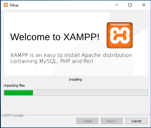 XAMPP installation on Windows 10 – Installation in Progress